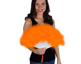 Orange Feather Fan, Small Marabou Feather Fan, Cheap Feather Fan For Photobooths, Costume Parties, Carnival & Halloween ZUCKER®