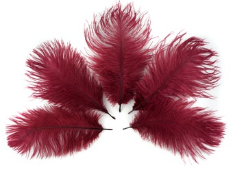 """Bulk Ostrich Feathers 4-8"""" BURGUNDY, Mini Ostrich Drabs, Bouquets, Boutonnieres, Small Centerpieces ZUCKER® Dyed and Sanitized USA"""
