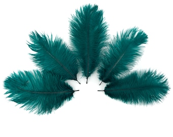 """Bulk Ostrich Feathers 4-8"""" TEAL, Ostrich Drabs, Bouquets, Boutonnieres, Mini Centerpieces ZUCKER® Dyed and Sanitized USA"""
