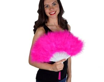 Shocking Pink Feather Fan, Small Marabou Feather Fan, Cheap Feather Fan For Photobooths, Costume Parties, Carnival & Halloween ZUCKER®