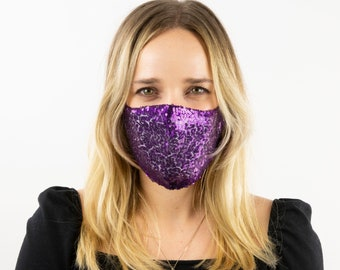 Fitted Face Mask, Purple Sequin Reusable Face Mask, Washable, Halloween Sequin Mask, Fashion Face Mask, Face Covering ZUCKER®