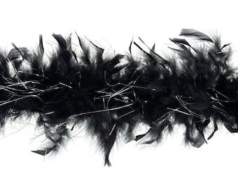 40 Gram Chandelle Feather Boa BLACK & SILVER LUREX 2 Yards For Party Favors, Kids Craft, Dress Up, Dance, Halloween, Costume Zucker®