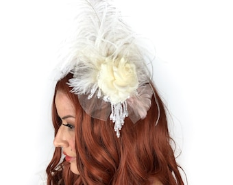 Victorian Inspired Ivory Feather Fascinator with Rose & Pearl Accents For Costume Parties, Halloween, Weddings and Special Events ZUCKER®