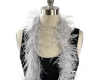Ostrich Feather Boa, Silver 2 Ply Value Ostrich Boa Halloween Costume, Dance and Fashion Design ZUCKER® Dyed & Sanitized in the USA