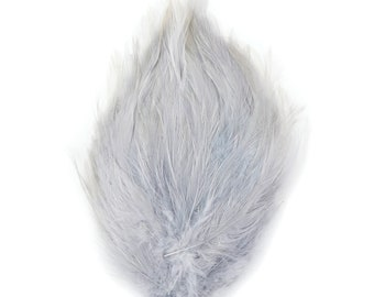 SILVER Dyed Hackle Pads - Feather Patches For Arts & Crafts, DIY Fascinators, Millinery, Fashion, Costume and Carnival Design ZUCKER®