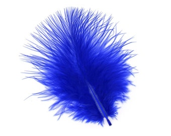 Turkey Feathers, Royal Blue Loose Turkey Marabou Feathers, Short and Soft Fluffy Down, Craft and Fly Fishing Supply Feathers ZUCKER®