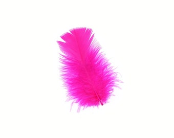 Turkey Feathers, Shocking Pink Loose Turkey Plumage Feathers, Short T-Base Body Feathers for Craft and Fly Fishing Supply ZUCKER®