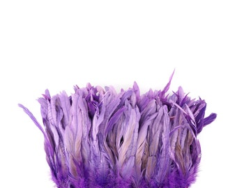 """Rooster Tail Feathers, LAVENDER 8-10"""" Strung Bleach Dyed Coque Tails, Wholesale Feathers Bulk ZUCKER®"""