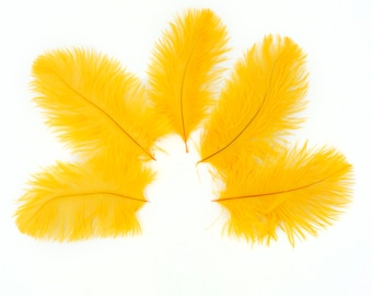 """Ostrich Feathers 4-8"""" GOLD, Mini Ostrich Drabs, Floral Bouquets, Boutonnieres, Small Centerpieces, Hat Trims, ZUCKER® Dyed and Sanitized USA"""