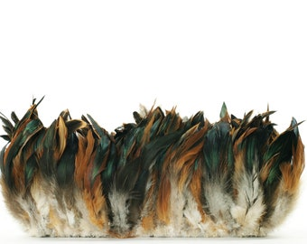 """Rooster Feathers, 4-6"""" NATURAL Half Bronze Schlappen Rooster Strung Craft Feathers ZUCKER®"""