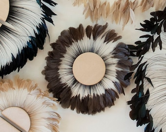 Unique Decorative Feather Wall Art, Small Full Moon Brown Feather Wall Art and Decor for Home or Office, Feather Wall Art & Placemat ZUCKER®
