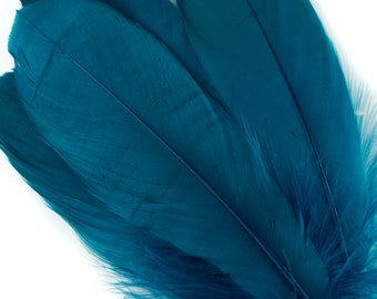 """Goose Feathers, 6-8"""" Loose Goose Pallet Feathers PEACOCK BLUE - Arts and Craft Supplies ZUCKER®"""