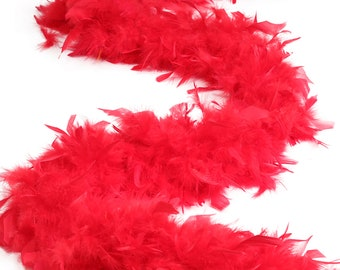 120 Gram Chandelle Feather Boa Red 2 Yards For Party Favors, Kids Craft & Dress Up, Dancing, Wedding, Halloween, Costume ZUCKER®