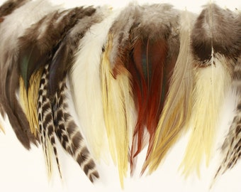 """Natural Loose Rooster Saddle Feathers, 3-6"""" Assorted Rooster Saddle Feathers 12 pcs For Fly Fishing Tying, Craft & Art Supply ZUCKER®"""