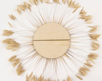 Unique Decorative Feather Wall Art, Half Moon Set Beige Feather Wall Art and Decor for Home and Office, Feather Wall Art  ZUCKER®