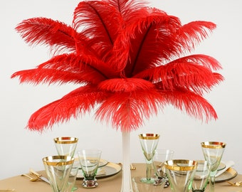"""Ostrich Feathers 13-16"""" RED - For Feather Centerpieces, Party Decor, Millinery, Carnival, Fashion & Costume ZUCKER®"""