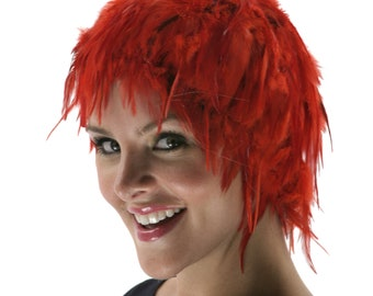 Red Feather Wig, Dyed Rooster Hackle Wig, Costume Feather Wig for Halloween and Carnival, Photography Props, Costume Wigs ZUCKER®