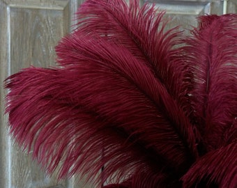 "Ostrich Feathers 17-20"" BURGUNDY, 1 to 25 pc, Ostrich PlumeS, Carnival Samba, Ostrich Drab, Mardi Gras, Centerpiece, Feather Fan ZUCKER® USA"