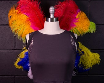 Medium Upcycled Ostrich Feather Costume Wings made with 2nd Quality Ostrich Feathers, Fantasy Costume Feather Wings ZUCKER® Original Designs