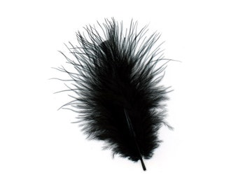 Turkey Feathers, Black Loose Turkey Marabou Feathers, Short and Soft Fluffy Down, Craft and Fly Fishing Supply Feathers ZUCKER®