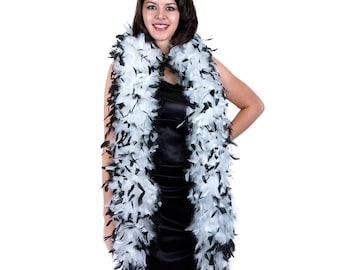 120 Gram Chandelle Feather Boa Tipped WHITE & BLACK 2 Yards For Party Favors, Kids Craft, Dress Up, Dancing, Halloween, Costume ZUCKER®