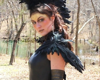 Black Feather Wing, Crow Costume Feather Wings, Over the Shoulder Premium Fantasy Feather Wings, Halloween Costume & Cosplay Wings ZUCKER®