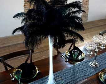 """Ostrich Feathers 13-16"""" BLACK - For Feather Centerpieces, Party Decor, Millinery, Carnival, Fashion & Costume ZUCKER®"""
