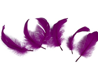 """Goose Nagoire Feathers, 4-6"""" Very Berry Loose Goose Nagoire Feathers, Small Feathers, Arts and Craft Supplies ZUCKER®"""