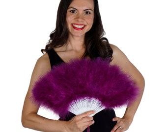 Purple Feather Fan, Small Marabou Feather Fan, Cheap Feather Fan For Photobooths, Costume Parties, Carnival & Halloween ZUCKER®