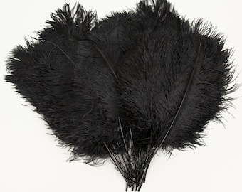 """Black Ostrich Feather Tips, 16-18"""" Ostrich Tails 30 Pieces for Millinery & Floral Design, DIY Costume, Carnival, Mardi Gras ZUCKER®"""