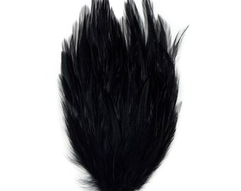 BLACK Dyed Hackle Pads - Feather Patches For Arts & Crafts, DIY Fascinators, Millinery, Fashion, Costume and Carnival Design ZUCKER®