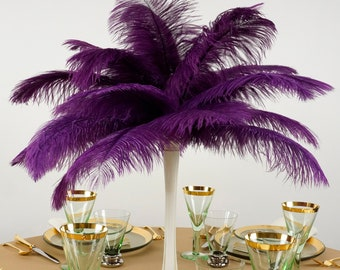 """Ostrich Feathers 13-16"""" PURPLE - For Feather Centerpieces, Party Decor, Millinery, Carnival, Fashion & Costume ZUCKER®"""