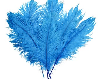 """Dk. Turquoise Ostrich Feather Tips, 16-18"""" Ostrich Tails 30 Pieces for Millinery & Floral Design, DIY Costume, Carnival, Mardi Gras ZUCKER®"""