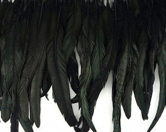"""12-14"""" Black Iridescent Rooster Coque Tail Feather Fringe by the Yard - Fringe for Costume, Fashion & Millinery Design ZUCKER®"""
