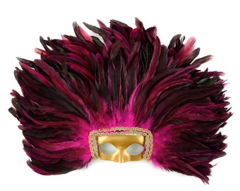 PINK Feather Headdress with Gold Removable Masquerade Mask -  Cultural Dance, Carnival and Halloween Costume Feather Headdress ZUCKER®