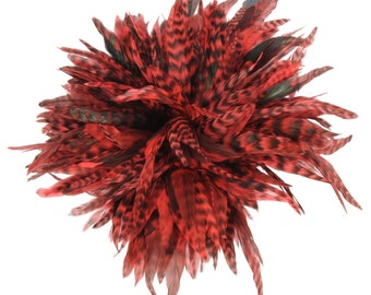 1/2 yard BULK Hot Orange Chinchilla Rooster Schlappen - For DIY Jewelry Making, Costume and Cultural Arts Design  ZUCKER®