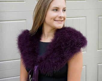 PLUM Marabou Feather Shawl with Satin Ties - For Prom, Bridesmaids, Weddings & all Special Events ZUCKER® Feather Place Original Designs