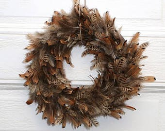Small Decorative Wreath, Natural Pheasant Feather Wreath, Thanksgiving Decor, Fall Decor, Rustic Decor, Housewarming Gift ZUCKER®