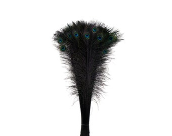 Black Dyed Peacock Feathers, 25-40 inches Stem Dyed Peacock Tail Feathers, Peacock Tail Feathers with Large Iridescent Eyes ZUCKER®