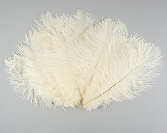 """Ostrich Feathers 9-12"""" IVORY, Ostrich Drabs, Centerpiece Floral Supplies, Carnival & Costume Feathers ZUCKER®Dyed and Sanitized USA"""