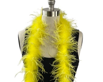 Ostrich Feather Boa, Lemon Yellow 2 Ply Value Ostrich Boa Halloween Costume, Dance and Fashion Design ZUCKER® Dyed & Sanitized in the USA