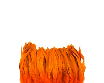 """Rooster Tail Feathers, ORANGE 8-10"""" Strung Bleach Dyed Coque Tails, Wholesale Feathers Bulk ZUCKER®"""