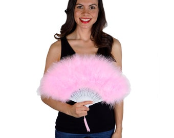 Candy Pink Feather Fan, Small Marabou Feather Fan, Cheap Feather Fan For Photobooths, Costume Parties, Carnival & Halloween ZUCKER®