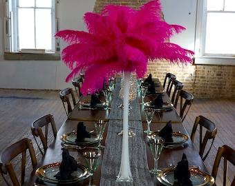 SHOCKINGPINK Ostrich Feather Centerpiece Set WHITE Eiffel Tower Vase For Great Gatsby Party, Special Event & Wedding Reception Decor ZUCKER®