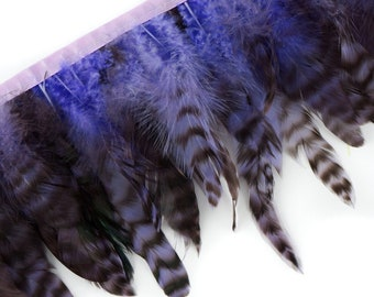"""1 Yard Lavender Dyed over Natural Grey Schlappen Feather Fringe approx 5-6"""" - Fringe for Costume, Fashion & Millinery Design  ZUCKER®"""