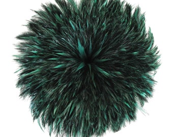 """Rooster Feathers, 4-6"""" FOREST GREEN Rooster Hackle Strung Craft Feathers ZUCKER®"""