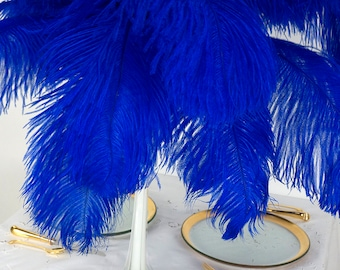 """Large Ostrich Feathers 17-25"""", 1 to 25 Pieces  Prime Ostrich Femina Wing Plumes NAVY, Wedding Centerpiece, Carnival Feathers ZUCKER® USA"""