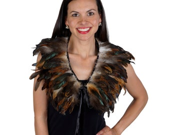 Feather Cape, Collar with Satin Ribbon Ties, NATURAL feathers, Festival Wear, Halloween Accessory, Bird Costume Accent, Cosplay ZUCKER® USA