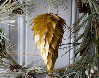 Gold Decorative Pine Cone Feather Ornament - Christmas, Unique Holiday Decorative feather Ornaments ZUCKER®