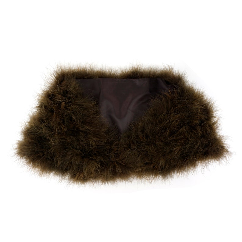 WALNUT Fancy Marabou Feather Shawl wFront Hook Closure For Special Events /& Costume Parties ZUCKER\u00ae Feather Place Original Designs